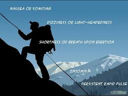 Silhouette of mountain climber and signs of altitude sickness