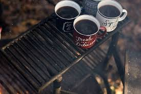 Coffee over a campfire for a Camping breakfast