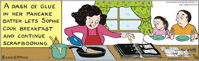 Cartoon about preserving memories and cooking breakfast with pancake batter